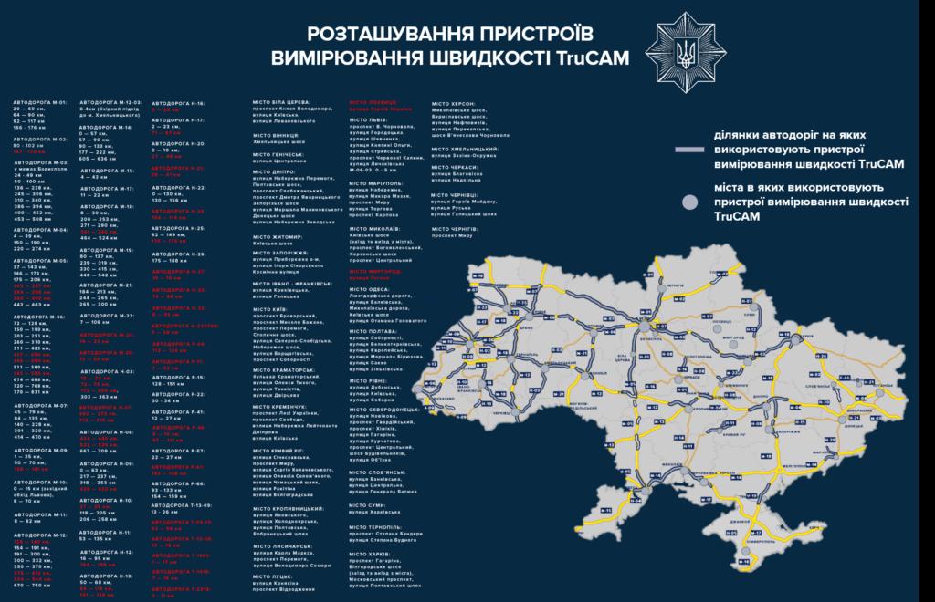 карта размещения TruCam